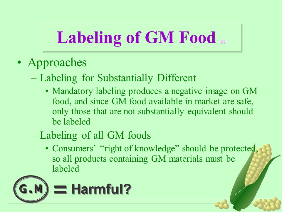 Labeling of GM Food [1] Harmful Approaches G.M